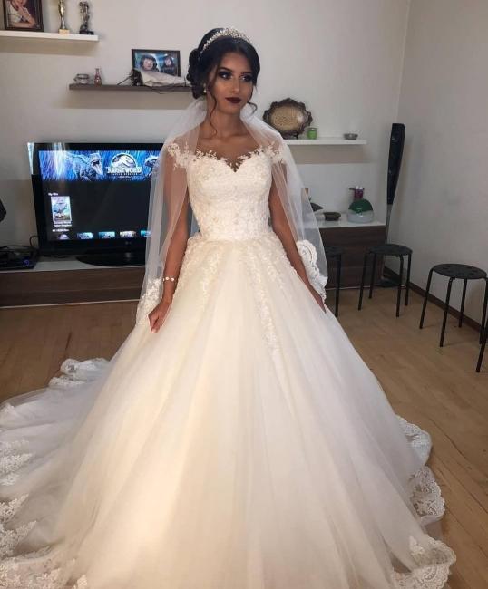 Schlichtes Brautkleid A Linie Spitze Ärmel | Brautmode Günstig Kaufen