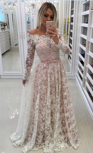 Evening dresses lace long sleeves a line prom dresses cheap online