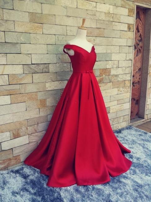 Einfach Rot Abendkleider Lang Träger Satin Bodenlang Abendmoden Abiballkleider Günstig