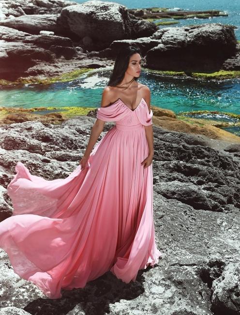 Pink Evening Dresses Long Chiffon Sheath Dresses Evening Wear Online