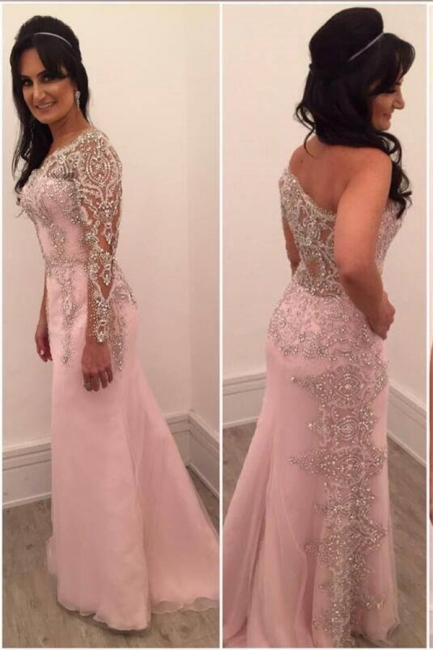 Sexy Pink Evening Dresses Long Sleeves Crystal Mermaid Evening Wear Prom Dresses