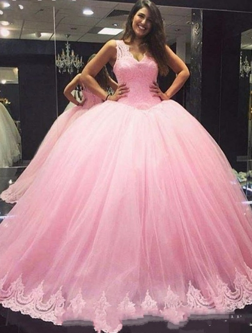 Princess Pink Quinceanera Dresses With Lace Straps Evening Dresses Party Dresses