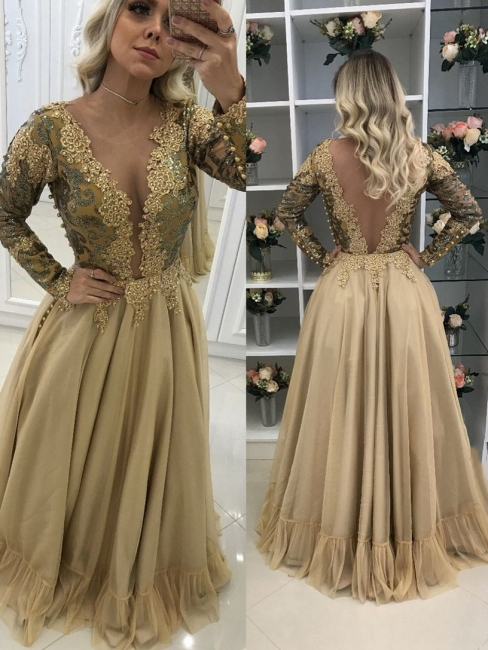 Golden evening dresses long with sleeves cheap lace evening dresses prom dresses