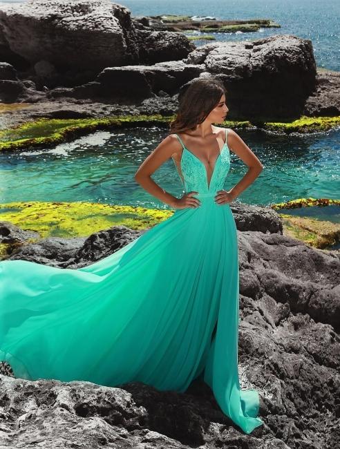 Grün Abendkleider Lang Chiffon Etuikleider Bodenlang Abendmoden Abiballkleider