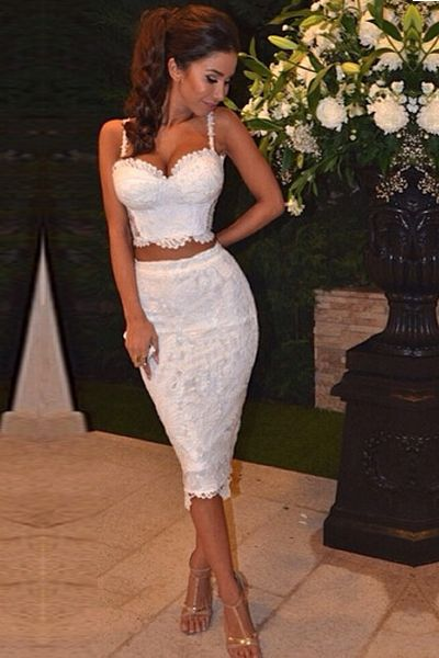 Cocktail dress white short lace mermaid 2 piece evening dresses knee length