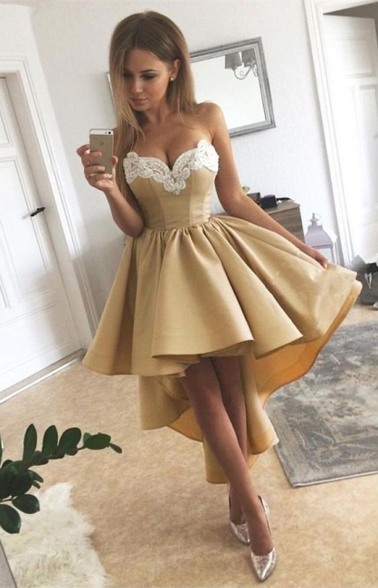 Golden Cocktail Dresses Short Front Long Back Prom Dresses Online