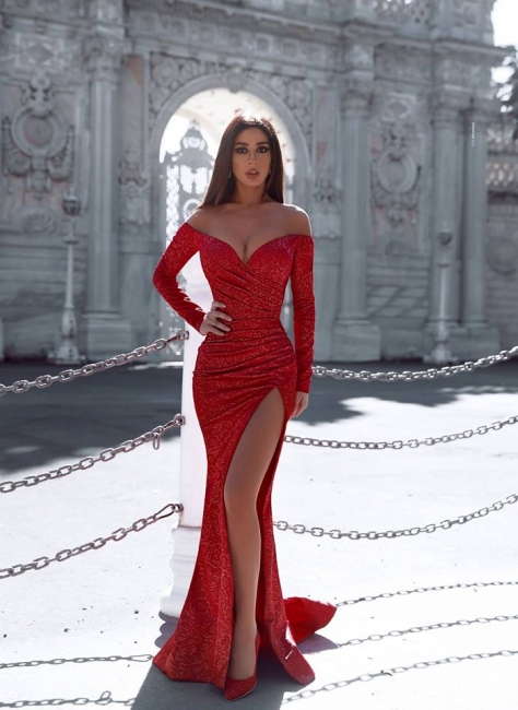 Red evening dresses with sleeves | Long glitter prom dresses