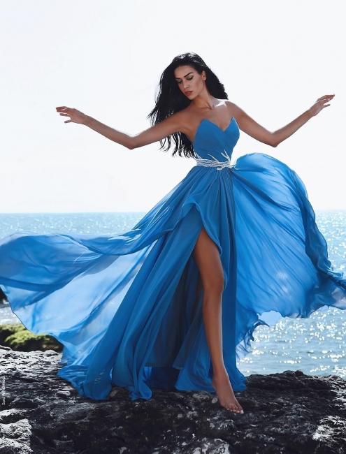 Sexy Blau Abendkleider Lang Chiffon Etuikleider Abendmoden Online