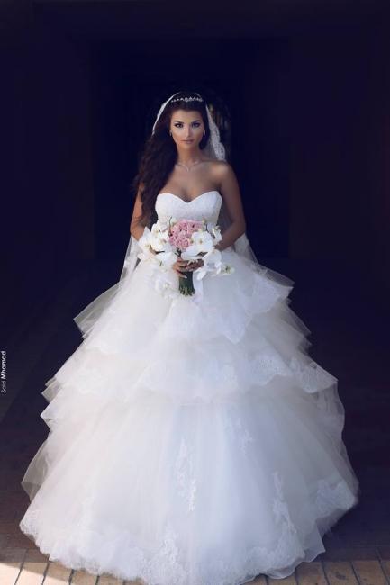 Prinzessin Weiß Brautkleider Mit Spitze Tüll Brautmoden Hochzeitskleider