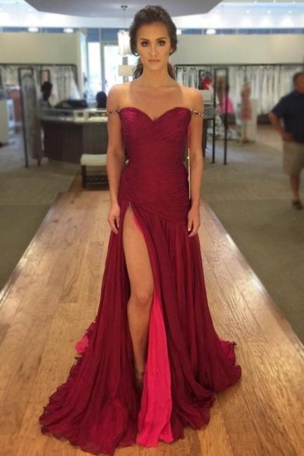 Günstig Rote Abendkleider Lang Chiffon Bodenlang Abendmoden Online