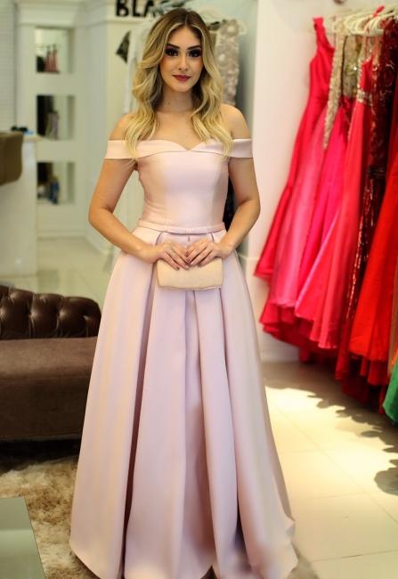 Fashion Rosa Abendkleider Lang Günstig A Line Ballkleider Abiballkleider Online