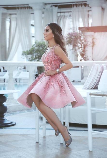 Rosa cocktailkleid Kurz A Linie Perlen Festliche Kleider Abendkleider