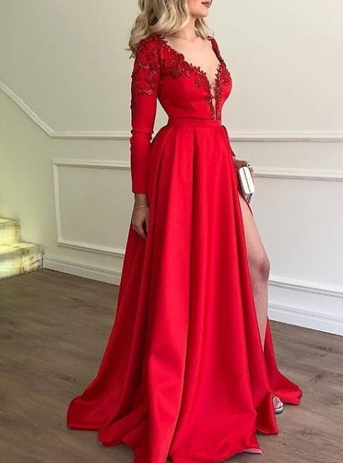 Elegant Evening Dresses Long Red Abbiball Dresses With Sleeves Cheap