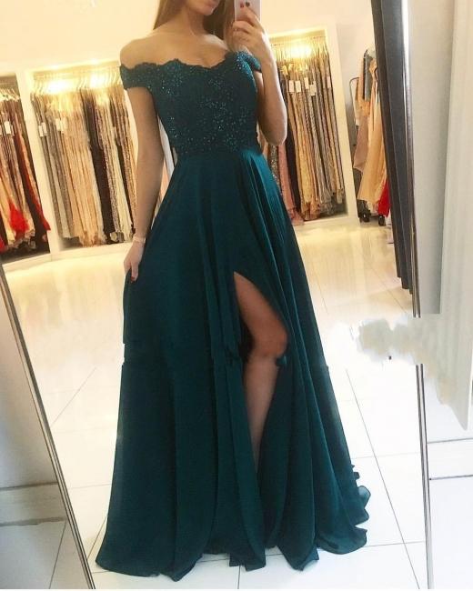 Fashion Green Evening Dresses Long Cheap | Chiffon dresses prom dresses lace