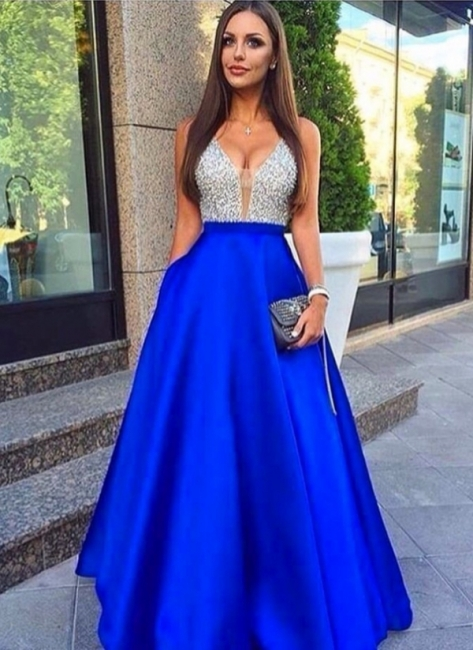 Royal Blue Long Prom Dresses Cheap Crystal V Neck Evening Wear Prom Dresses