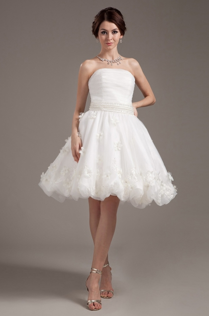 Simple Short Wedding Dresses Cream A Line Organza Bridal Wedding Dresses