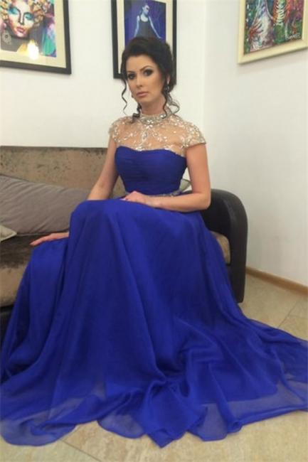 Blau Abendkleider Abschlussballkleider Perlen Chiffon Bodenlang Abendmoden