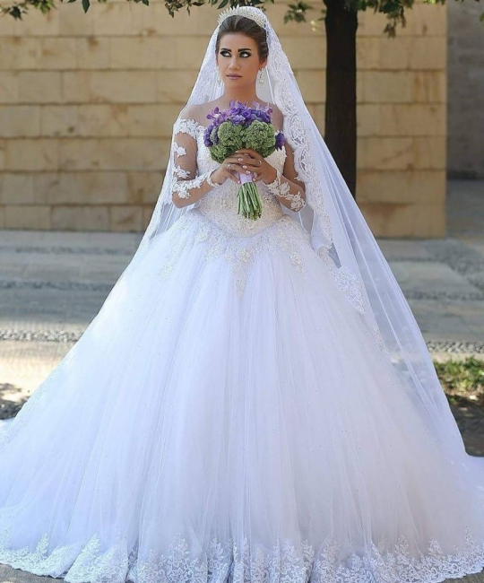 Elegant White Wedding Dresses Long Sleeves Lace A Line Tulle Bridal Gowns Online