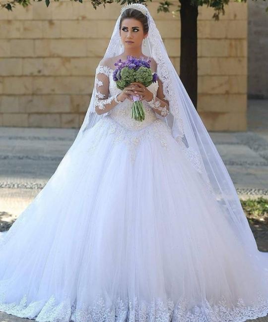 Elegante Weiße Hochzeitskleider Lange Ärmel Spitze A Linie Tülle Brautkleider Online