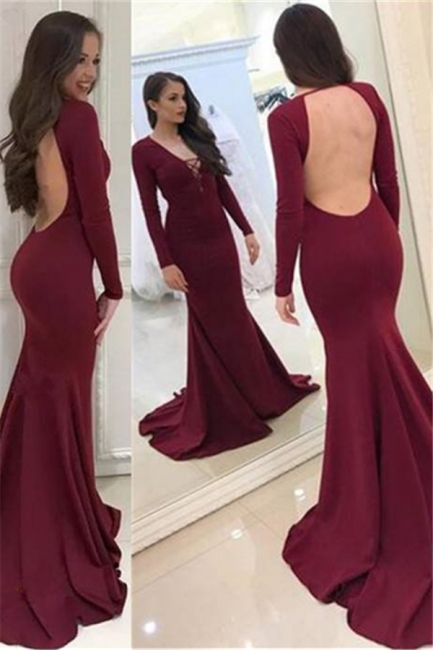 Elegant Evening Dress Long Red With Sleeves Mermaid Evening Dresses Prom Dresses Cheap