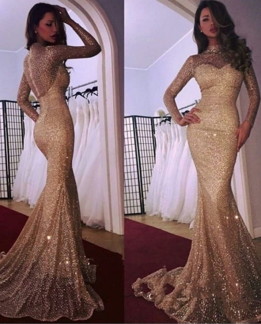 Designer Gold Evening Dresses With Sleeves Sequins Evening Wear Prom Dresses Online