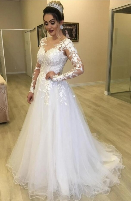 Chic Wedding Dresses With Lace Sleeves | Buy cheap a line wedding dresses