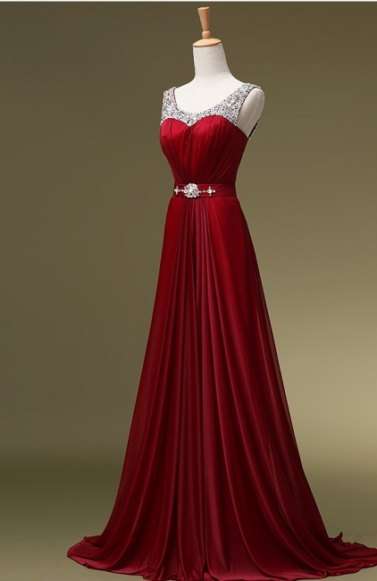 Red Evening Dresses Long Cheap Straps Beaded A Line Chiffon Prom Dresses