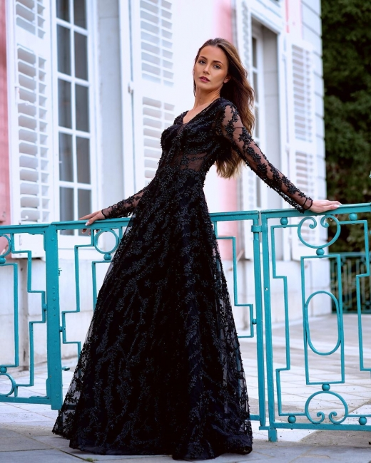 Elegant Evening Dresses Long Black | Prom dresses with sleeves