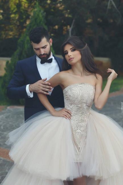 Designer Wedding Dresses White Front Short Behind Long A Line Wedding Gowns Cheap