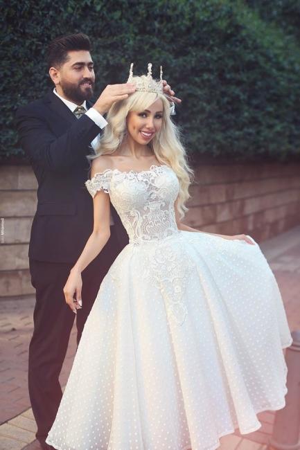 Elfenbein Brautkleider Kurz Spitze Günstig Knielang A Linie Brautmoden Hochzeitskleider