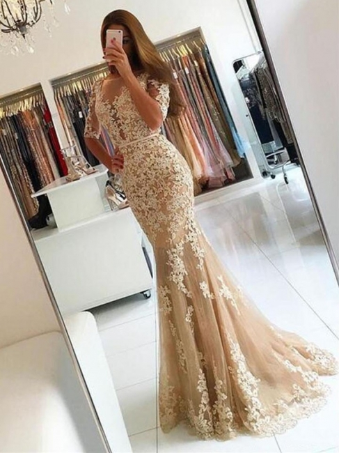 Champagne Evening Dresses Long With Sleeves Lace Mermaid Evening Wear Prom Dresses Cheap