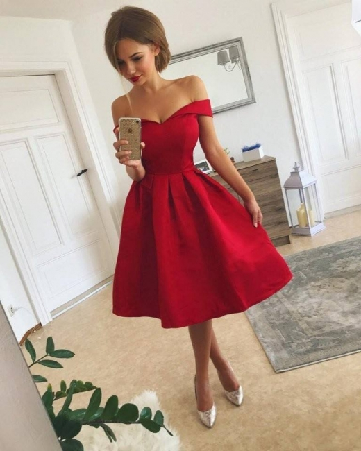 Red Cocktail Dresses Short Satin A Line Dresses Prom Dresses Online