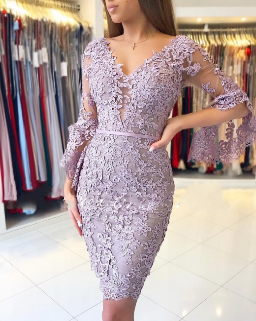 Elegant Purple Cocktail Dresses Short | Lace evening dresses with sleeves