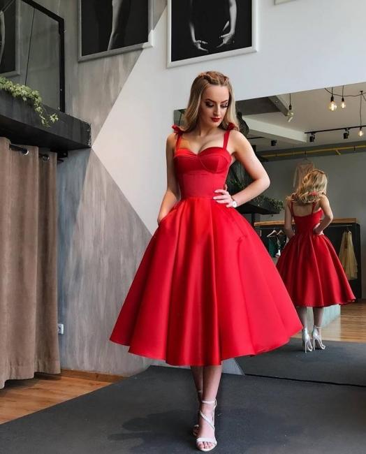 Elegante Rote Cocktailkleider Kurz A Linie Knielange Abiballkleider Abendmoden