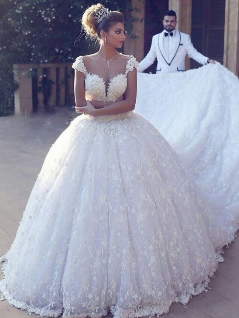 Elegant wedding dresses princess | White Lace Wedding Dresses Online