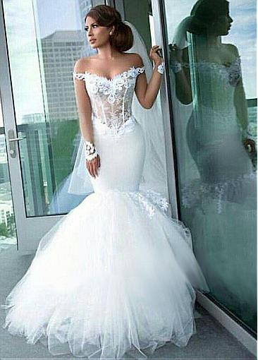 Fashion wedding dress with sleeves | Tulle wedding dress with lace