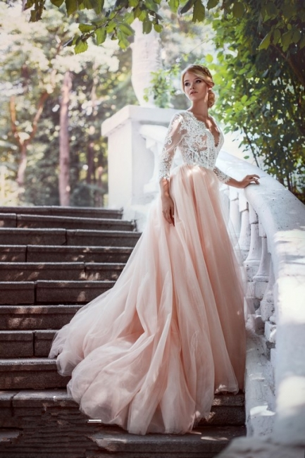 Pink White Wedding Dresses With Sleeves Lace A Line Bridal Wedding Gowns