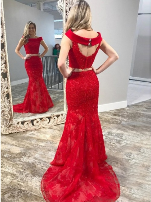 Red Evening Dresses Long Lace 2 Pieces Evening Dresses Floor Length Online