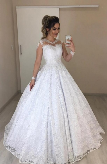 Beautiful wedding dresses with sleeves | A line lace wedding dresses online