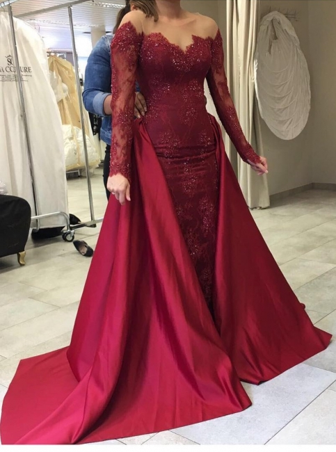 2-piece wine red evening dresses long sleeves lace mermaid prom dresses with train cheap