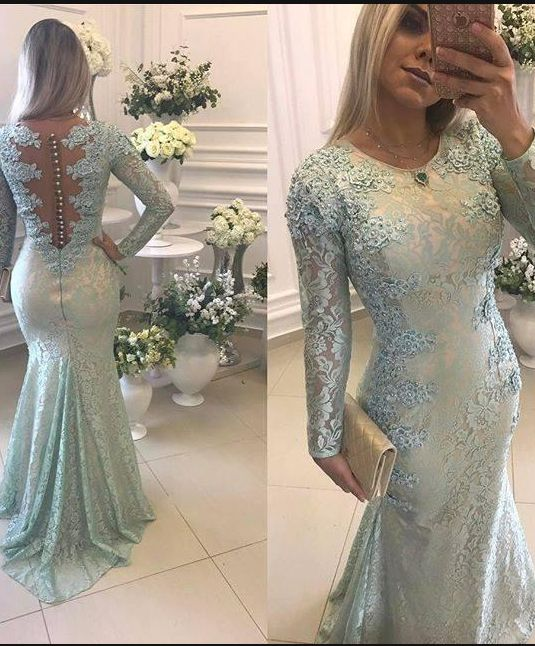 Green Evening Dresses Long With Lace Mermaid Evening Dresses With Sleeves Online