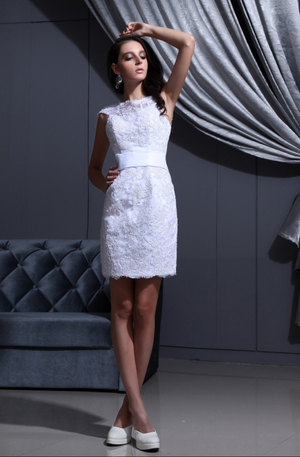 Designer Brautkleider Kurz Weiß Spitze Etuikleid Brautmoden Hochzeitskleider