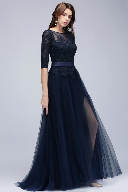 Navy blue evening dresses with sleeves lace sheath dresses evening gowns online cheap