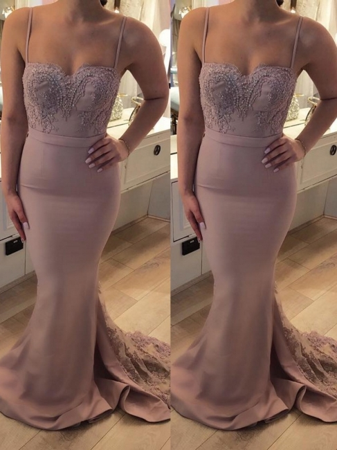 Exclusive evening dresses long cheap lace mermaid evening wear pink