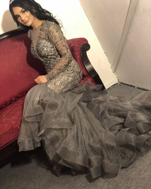 Luxury evening dress silver | Elegant long evening dresses with sleeves
