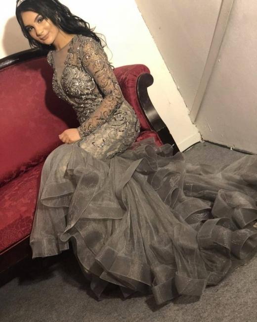 Luxus Abendkleid Silber | Elegante Abendkleider Lang mit Ärmel