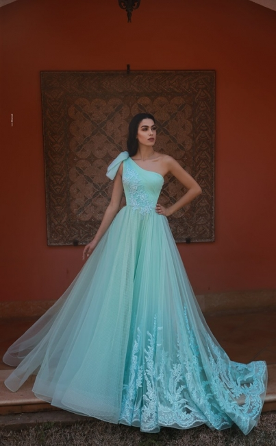 Green evening dresses with lace | Buy evening wear online