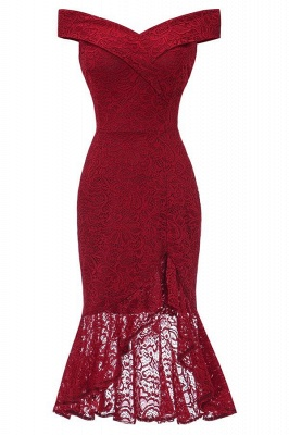 Elegant lace dresses | Red evening dresses short