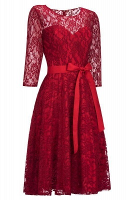 Lace dresses burgundy | Festive dresses evening dresses with sleeves_2