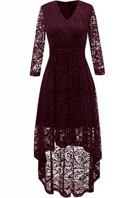 Festive dresses A line | burgundy dress with lace_1